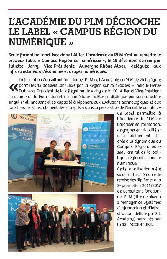 l'Académie du PLM labellisée CAMPUS REGIONAL DU NUMERIQUE
